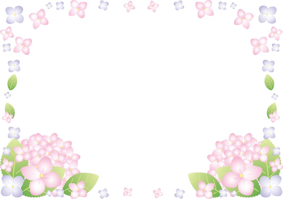 フリーイラスト あじさいの花の飾り枠