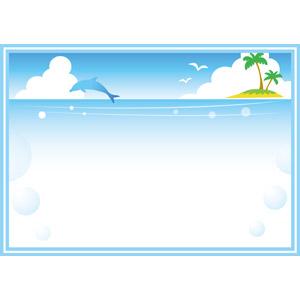 フリーイラスト, ベクター画像, EPS, 背景, フレーム, 囲みフレーム, 夏, 海, イルカ, ジャンプ(動物), 椰子(ヤシ), 南国, 泡