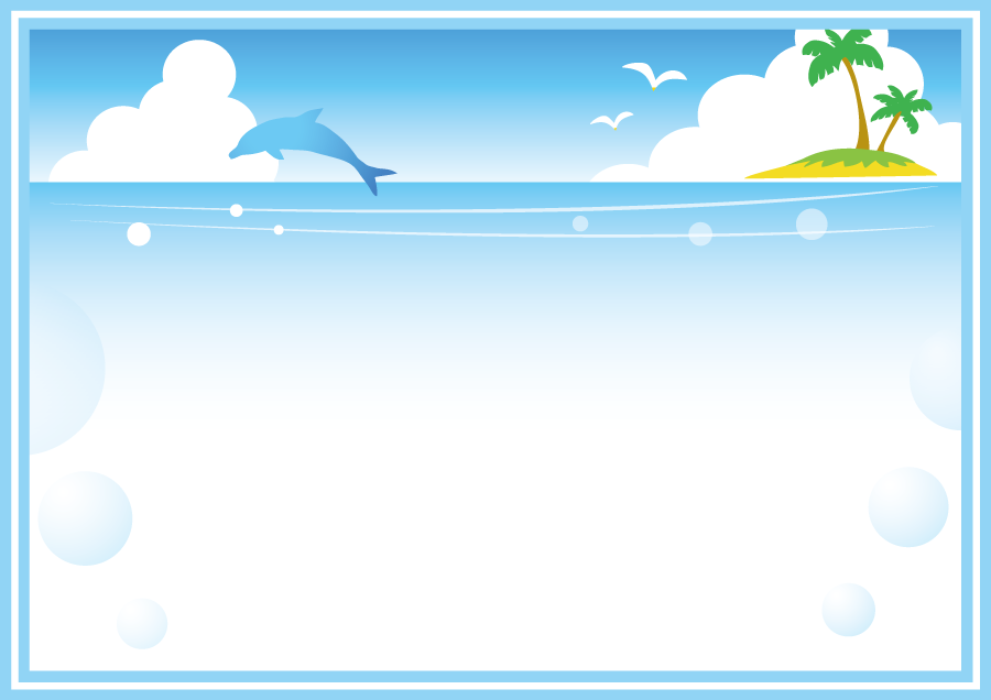 フリーイラスト イルカと南の島と夏の海の飾り枠