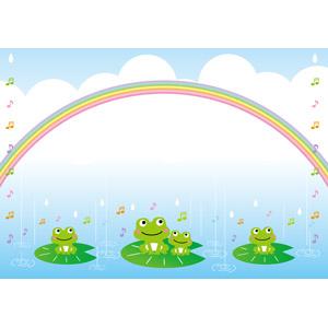 フリーイラスト, ベクター画像, AI, 背景, 虹, 雨, 梅雨, 6月, 蛙(カエル), 音符