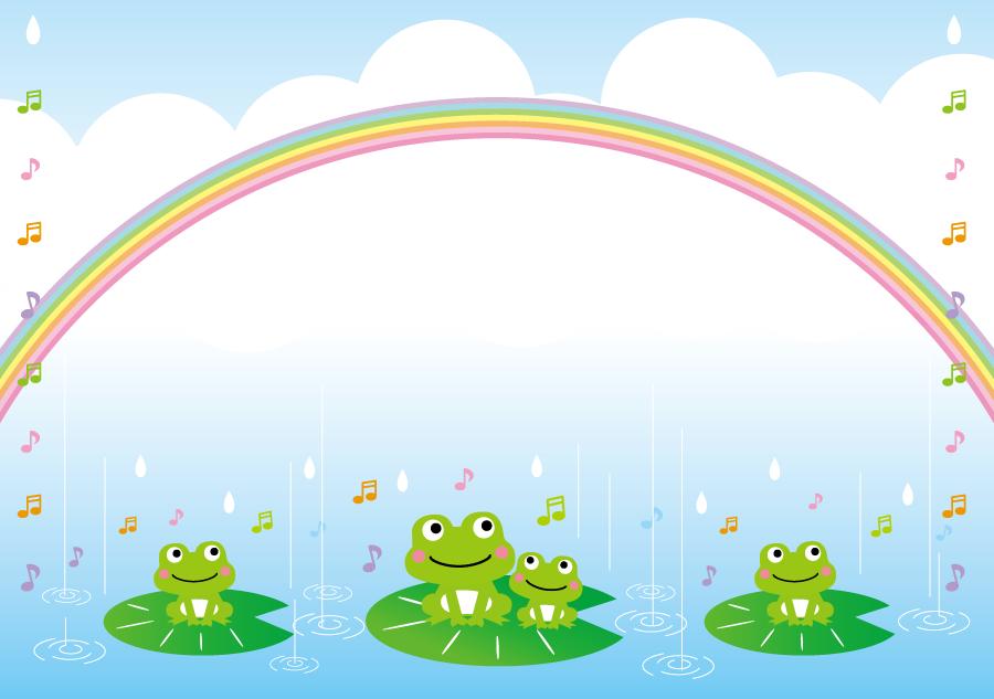 フリーイラスト 虹と雨と合唱中のカエル