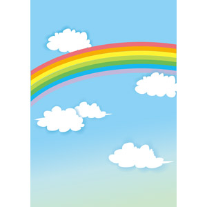 フリーイラスト, ベクター画像, EPS, 風景, 自然, 虹, 空, 雲
