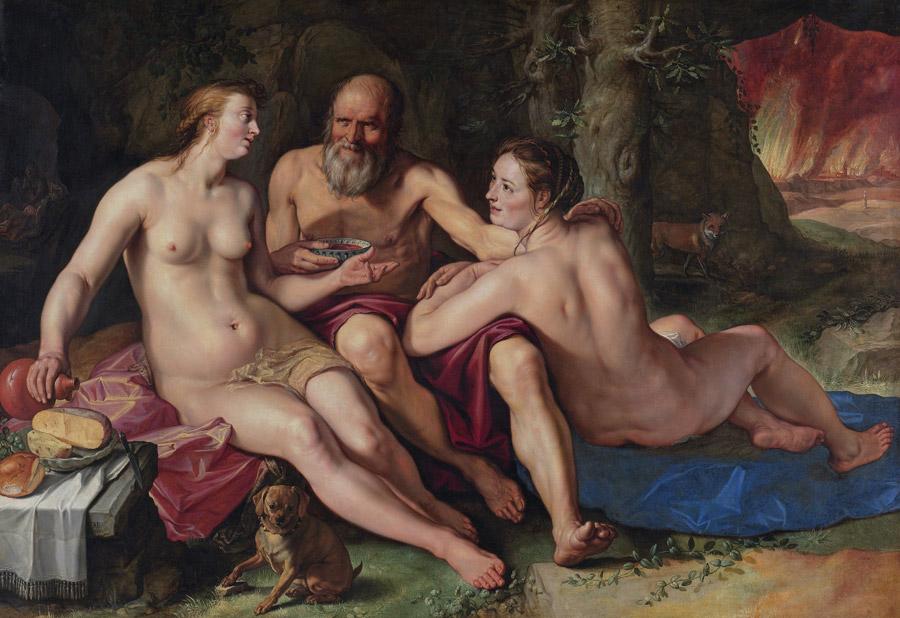 フリー絵画 ヘンドリック・ホルツィウス作「ロトと娘たち」