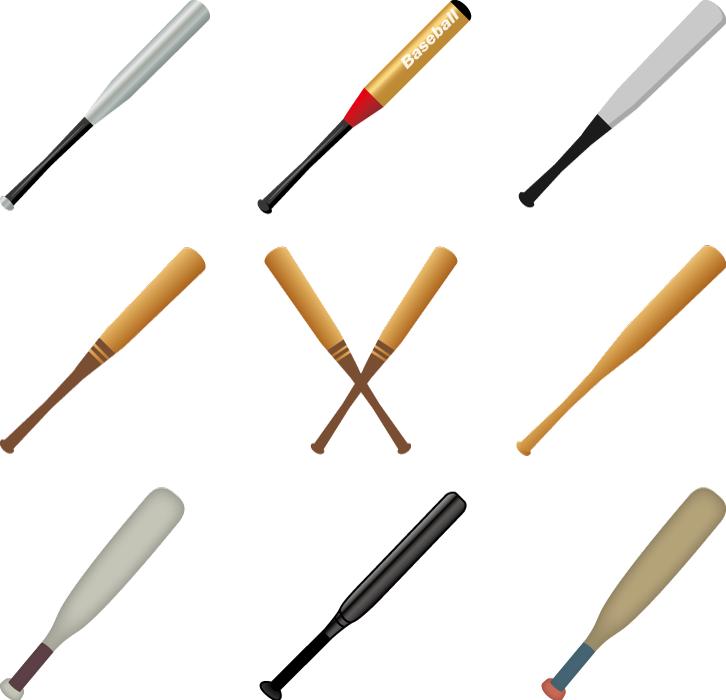 フリーイラスト 9種類の野球のバットのセット