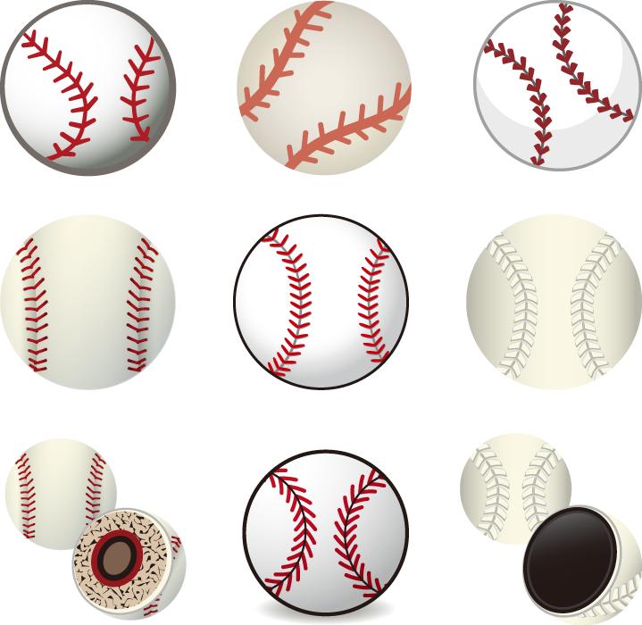 フリーイラスト 9種類の硬球と軟球の野球ボールセット