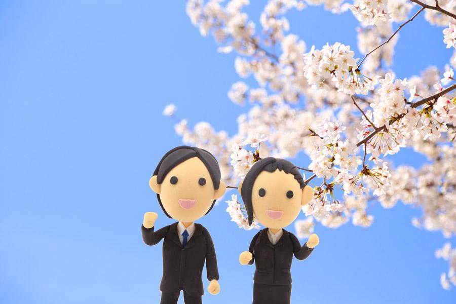 フリー写真 桜の花と新入社員の人形