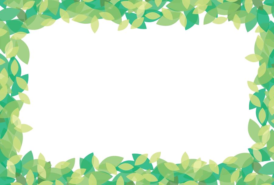 フリーイラスト 緑の葉っぱの囲みフレーム