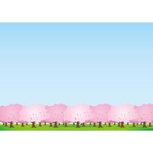 フリーイラスト, ベクター画像, AI, 風景, 自然, 樹木, 桜(サクラ), 春, 青空