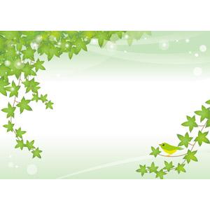 フリーイラスト, ベクター画像, AI, 背景, 植物, 蔦(ツタ), 葉っぱ, 小鳥, 緑色(グリーン)