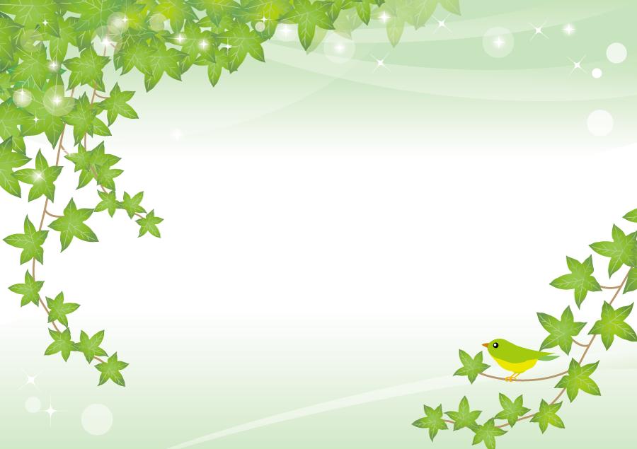 フリーイラスト 蔦の葉っぱと小鳥の背景