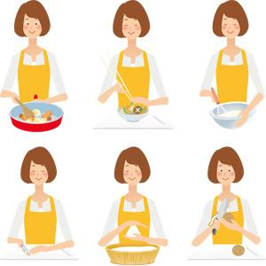フリーイラスト, ベクター画像, AI, 人物, 女性, 主婦, 母親(お母さん), エプロン, 調理, フライパン, まな板, 包丁, 泡だて器, おにぎり(おむすび), 菜箸, じゃがいも(ジャガイモ)
