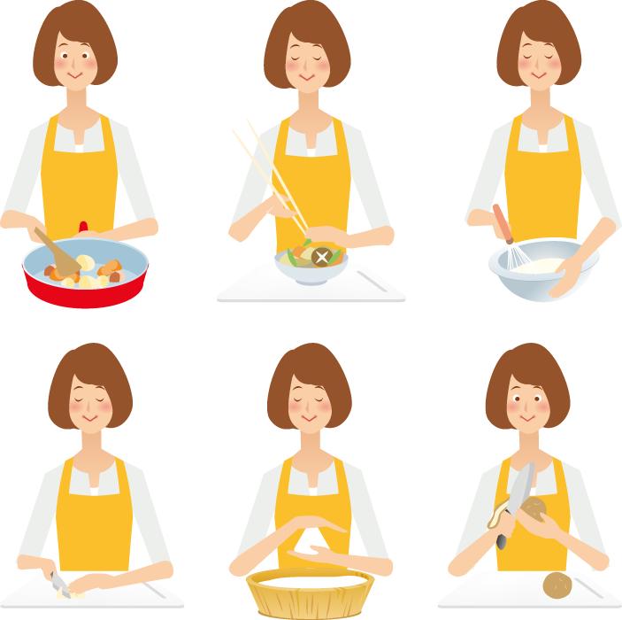 フリーイラスト 6種類の料理を作る主婦のセット
