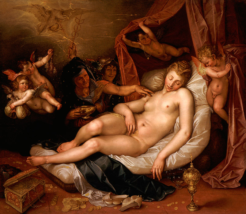 フリー絵画 ヘンドリック・ホルツィウス作「ダナエ」