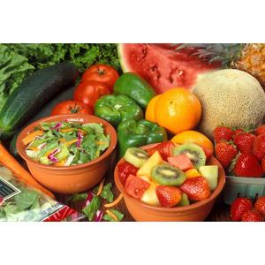 フリー写真, 食べ物(食料), 野菜, 果物(フルーツ), メロン, 西瓜(スイカ), キウイ, オレンジ, 苺(イチゴ), レタス, トマト, キュウリ, ピーマン