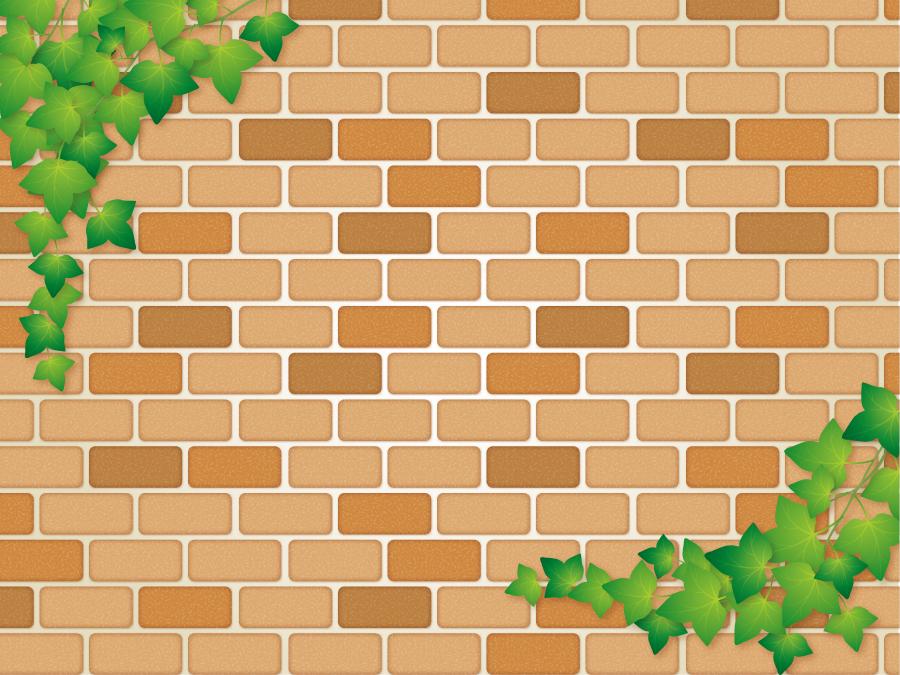フリーイラスト 蔦とレンガ造りの壁