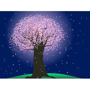 フリーイラスト, ベクター画像, EPS, 風景, 自然, 樹木, 花, 桜(サクラ), 夜, 夜桜, 桜吹雪, 春