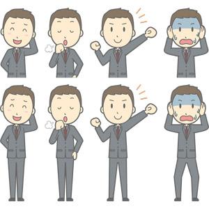 フリーイラスト, ベクター画像, AI, 人物, 男性, 男性(00179), ビジネス, 仕事, 職業, ビジネスマン, サラリーマン, メンズスーツ, 照れる, 咳払い, ガッツポーズ, やる気, 頭を抱える, 青ざめる, 冷や汗をかく, 困る