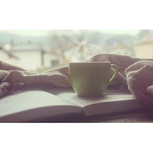フリー写真, 本(書籍), コーヒーカップ, コーヒー(珈琲), 湯気, 朝
