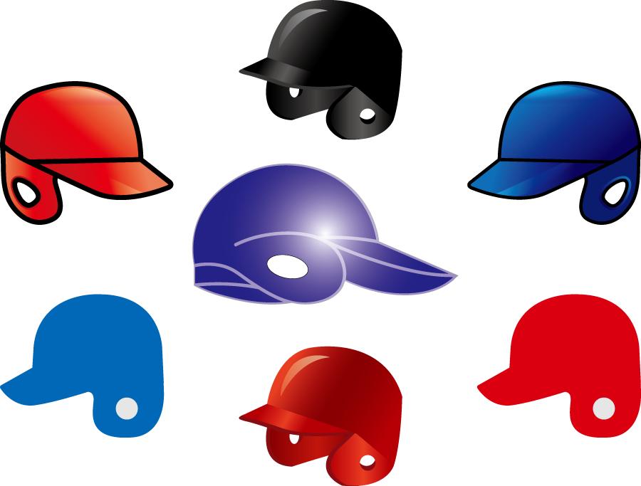 フリーイラスト 7種類の野球用ヘルメットのセット