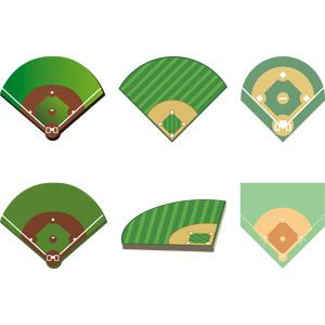 フリーイラスト, ベクター画像, AI, スポーツ, 球技, 野球(ベースボール), 野球場