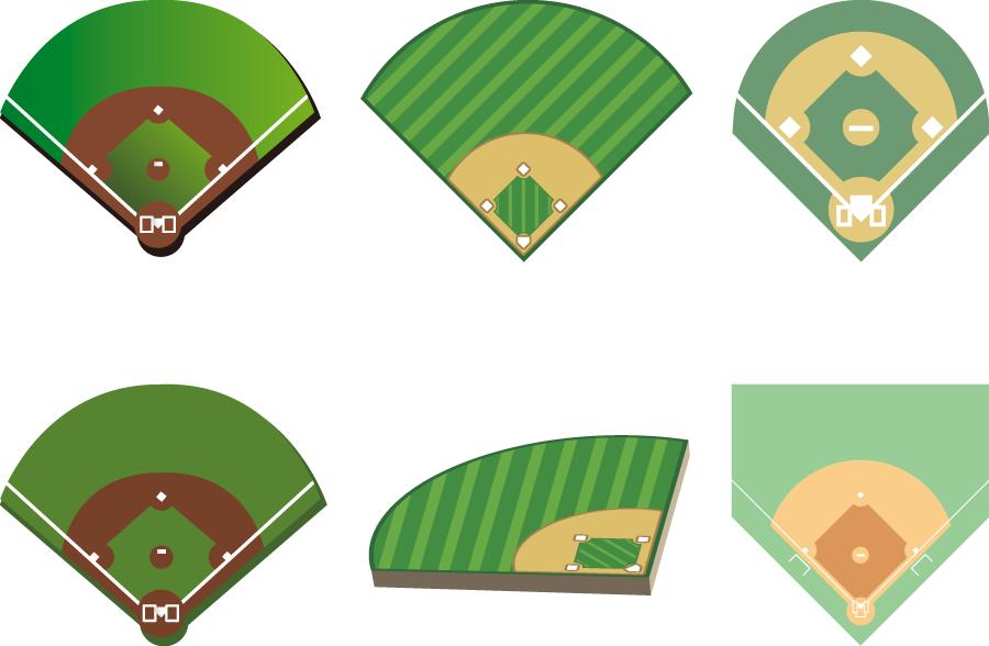 フリーイラスト 6種類の野球場のセット