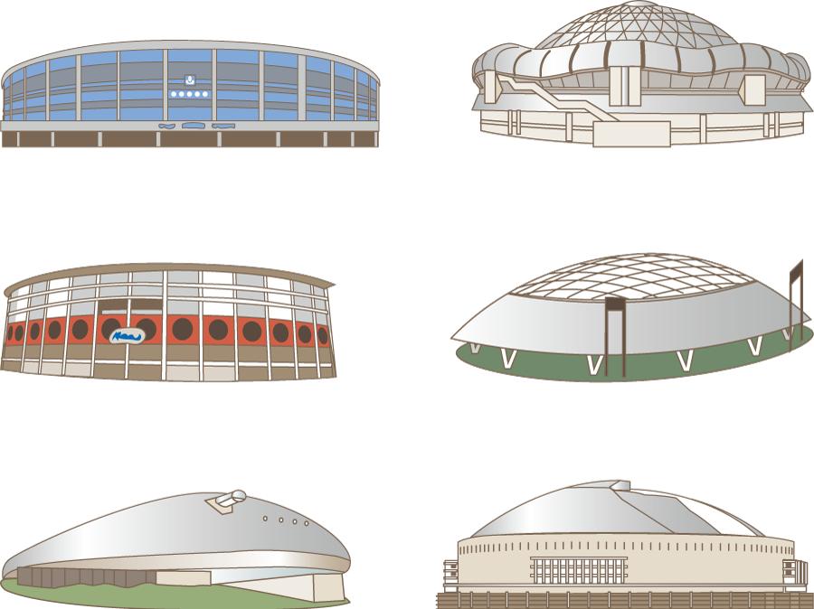 フリーイラスト 6種類のパリーグの球場のセット