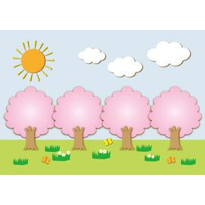 フリーイラスト, ベクター画像, AI, 風景, 自然, 桜(サクラ), 樹木, 太陽, 雲, 蝶(チョウ), 春