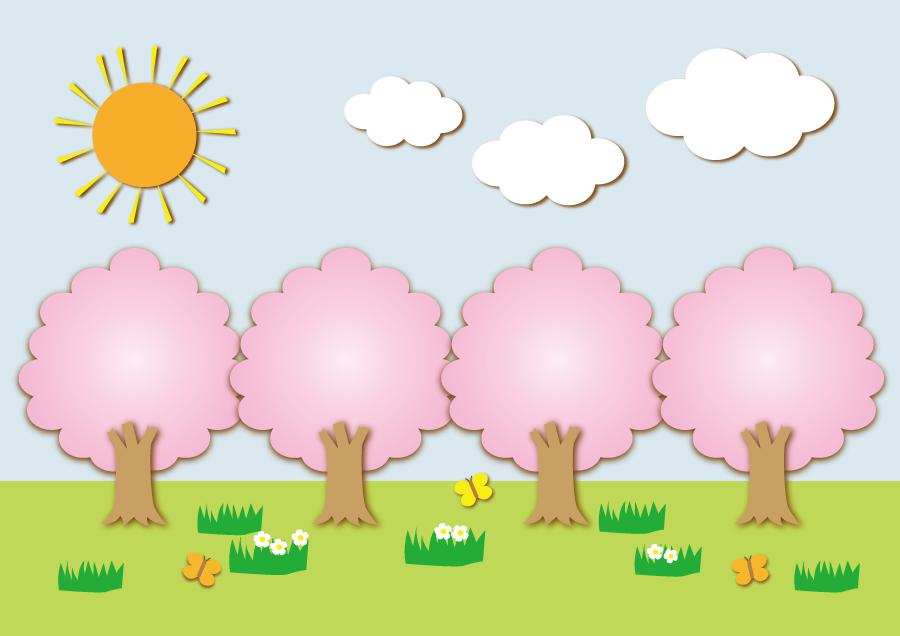 フリーイラスト 太陽と桜並木の風景