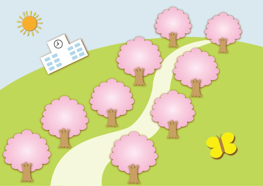 フリーイラスト 桜の並木道と学校