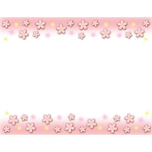 フリーイラスト, ベクター画像, AI, 背景, フレーム, 上下フレーム, 花, 桜(サクラ), 花柄, ピンク色, 春