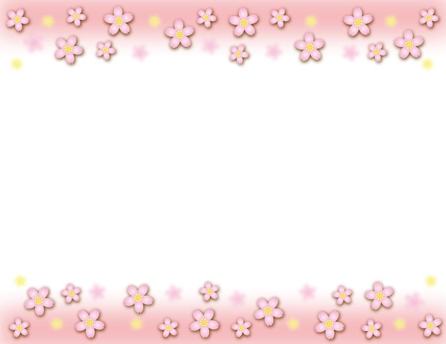 フリーイラスト 桜の花の上下フレーム