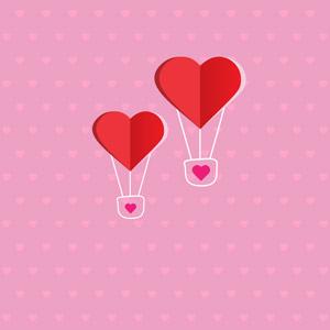 フリーイラスト, ベクター画像, AI, 背景, ハート, 熱気球, ピンク色, 愛(ラブ)