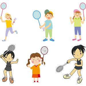 フリーイラスト, ベクター画像, AI, スポーツ, バドミントン, ラケット(バドミントン), シャトルコック, 人物, 母親(お母さん), 子供, 息子, 娘, 男の子, 女の子, 少女