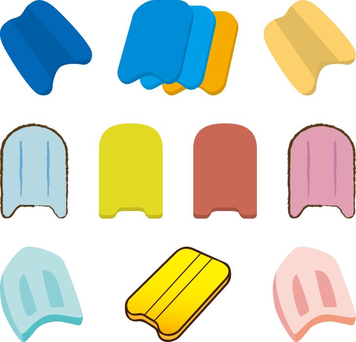 フリーイラスト 10種類のビート板のセット
