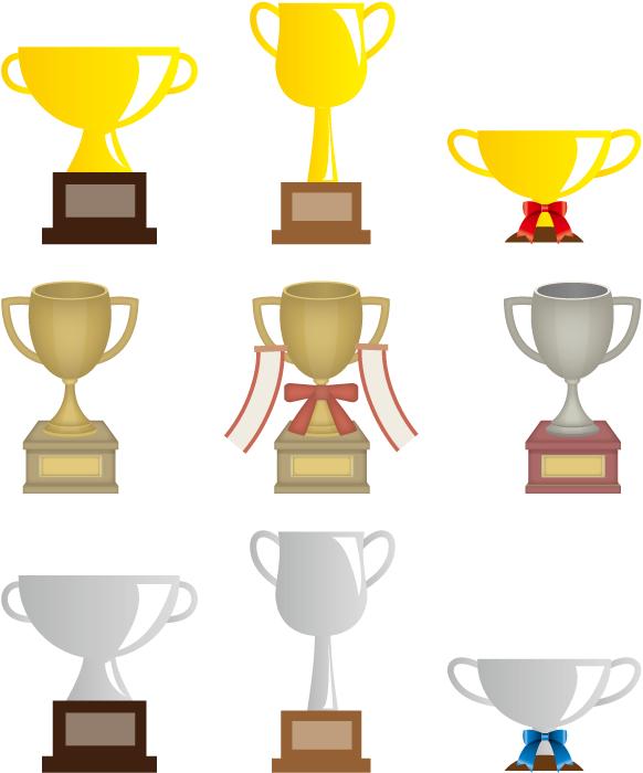 フリーイラスト 9種類のトロフィーのセット