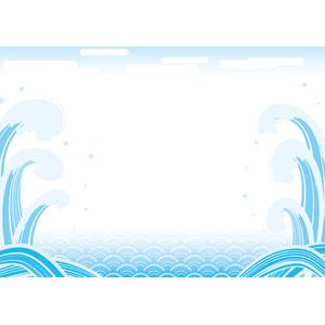 フリーイラスト, ベクター画像, AI, 背景, フレーム, 和柄, 海, 波, 青海波