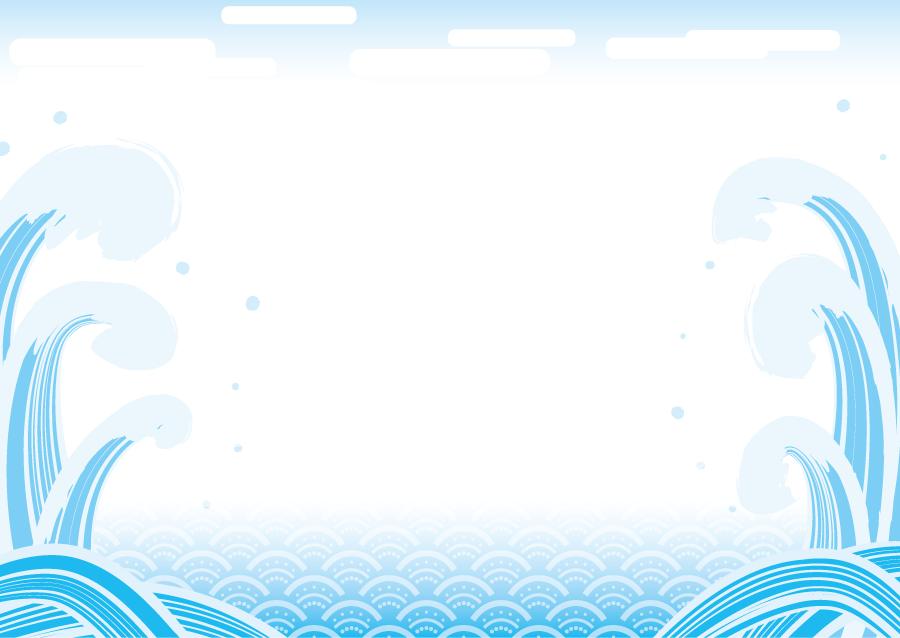 フリーイラスト 青海波と高波の和柄の飾り枠