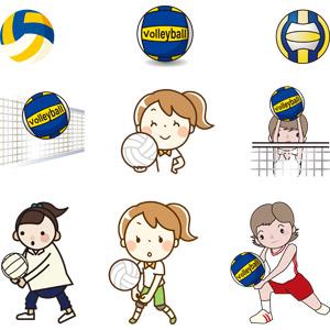 フリーイラスト, ベクター画像, AI, スポーツ, 球技, バレーボール, バレーボール選手, ボール, 女の子, 少女, 部活動