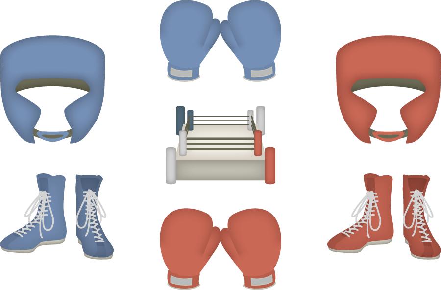 フリーイラスト 7種類のボクシング用具とリングのセット