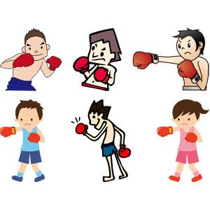 フリーイラスト, ベクター画像, AI, スポーツ, 格闘技, ボクシング, ボクサー, 殴る(パンチ), 男性, 女性, 少年, 少女, ガッツポーズ, ファイティングポーズ, ボクシンググローブ