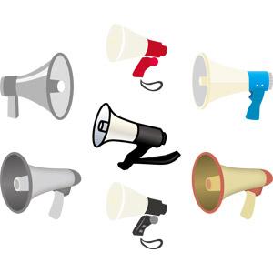 フリーイラスト, ベクター画像, AI, メガホン(拡声器), 音響機器