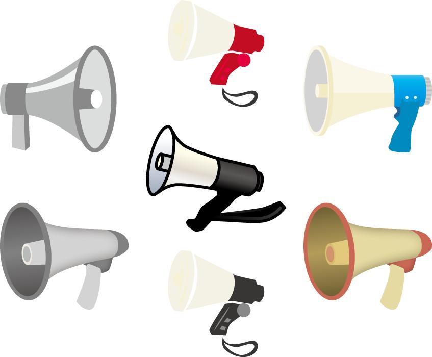 フリーイラスト 7種類の拡声器のセット