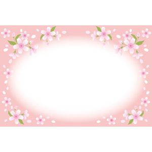 フリーイラスト, ベクター画像, EPS, 背景, フレーム, 円形フレーム, 植物, 花, 桜(サクラ), 花びら, ピンク色の花, ピンク色, 春