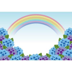 フリーイラスト, ベクター画像, AI, 風景, 虹, 植物, 花, 紫陽花(アジサイ), 梅雨, 6月