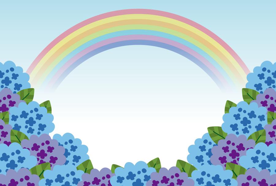 フリーイラスト 青と紫のあじさいの花と虹の風景