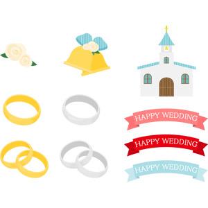 フリーイラスト, ベクター画像, AI, 結婚式(ブライダル), 結婚指輪, 指輪(リング), 装飾品(アクセサリー), 薔薇(バラ), 鐘(ベル), 教会(聖堂), 帯リボン, 6月, ジューンブライド