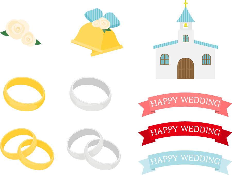 フリーイラスト 結婚指輪や教会等の結婚式のセット