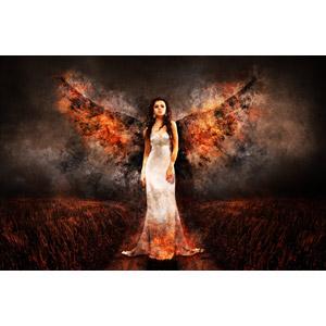 フリー写真, フォトレタッチ, 人物, 女性, 外国人女性, ドレス, 堕天使, 火(炎)