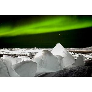 フリー写真, 風景, 自然, 氷, 夜空, 夜, オーロラ, 北極の風景