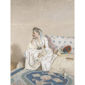 フリー絵画, ジーン・エティエン・リオタール, 肖像画, 女性, 外国人女性, 座る(ソファー), 頬杖をつく